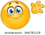 cute emoticon waving hello | Shutterstock .eps vector #346781129