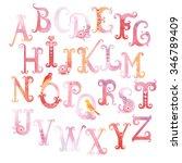 beautiful watercolor alphabet... | Shutterstock .eps vector #346789409