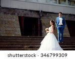 wedding couple on the nature is ... | Shutterstock . vector #346799309