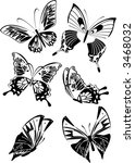 set of monochrome butterflies   ... | Shutterstock .eps vector #3468032