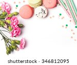 flowers  macarons and paper... | Shutterstock . vector #346812095