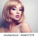 beautiful bright makeup blond... | Shutterstock . vector #346817279