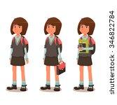 schoolgirl in school uniform  ... | Shutterstock .eps vector #346822784