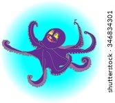 octopus purple isolated | Shutterstock .eps vector #346834301