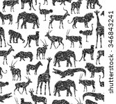 seamless pattern with black...   Shutterstock .eps vector #346843241