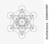 metatrons cube   flower of life.... | Shutterstock .eps vector #346844489