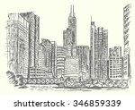 chicago city scene hand drawn... | Shutterstock .eps vector #346859339