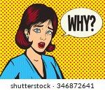 girl scream pop art style... | Shutterstock .eps vector #346872641