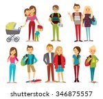 young people  couples  mom with ... | Shutterstock .eps vector #346875557