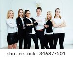 group of students looking happy ... | Shutterstock . vector #346877501