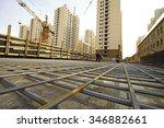 worker in the construction site ... | Shutterstock . vector #346882661