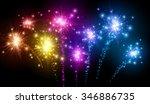 Festive Color Firework On Blac...