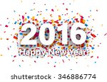 happy new year 2016 with colour ... | Shutterstock .eps vector #346886774
