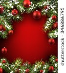 christmas red background with... | Shutterstock .eps vector #346886795