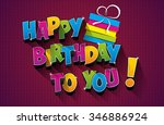 happy birthday greeting card on ... | Shutterstock .eps vector #346886924