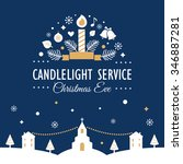 christmas eve candlelight... | Shutterstock .eps vector #346887281
