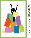girl on shopping | Shutterstock .eps vector #34688974