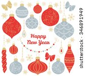 new year's greeting card with... | Shutterstock .eps vector #346891949