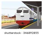 train arrive in railway station ... | Shutterstock .eps vector #346892855