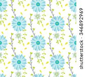 seamless flower pattern. hand... | Shutterstock .eps vector #346892969