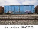 boxcar with graffiti   Shutterstock . vector #34689820