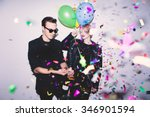 new year's party. girl and boy... | Shutterstock . vector #346901594