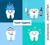 tooth hygiene set. banner with... | Shutterstock . vector #346907765
