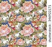 watercolor summer garden... | Shutterstock . vector #346922171