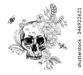 skull and flowers day of the... | Shutterstock .eps vector #346922621