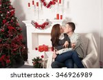christmas gift. happy couple in ... | Shutterstock . vector #346926989