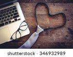 "top view tie make like ""love"" ... | Shutterstock . vector #346932989"
