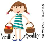 girl and basket with healthy... | Shutterstock .eps vector #346934105