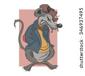 cartoon rat dressed in a jacket ...