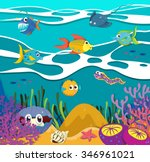 fish and sea animals underwater ... | Shutterstock .eps vector #346961021