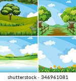 nature scene with field and... | Shutterstock .eps vector #346961081