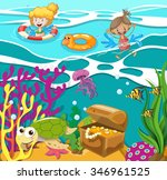 people swimming in the ocean... | Shutterstock .eps vector #346961525