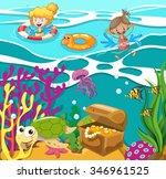 people swimming in the ocean... | Shutterstock .eps vector #346961525