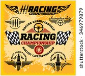 set of car racing emblems and... | Shutterstock .eps vector #346979879