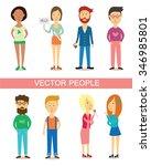 set of diverse people... | Shutterstock .eps vector #346985801