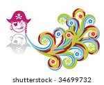 the pirate in abstract collage. ... | Shutterstock .eps vector #34699732