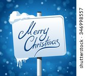 merry christmas road sign with... | Shutterstock .eps vector #346998557