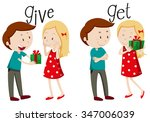 boy giving and girl getting... | Shutterstock .eps vector #347006039