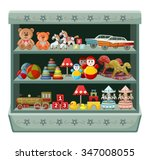 vintage toys shop. shelves....