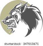 evil wolf patterned | Shutterstock .eps vector #347013671