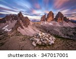 colorful sunset in dolomiti.... | Shutterstock . vector #347017001
