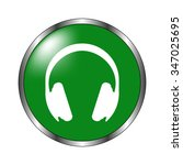 headphones    green vector icon | Shutterstock .eps vector #347025695