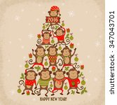 new year tree shape with... | Shutterstock .eps vector #347043701