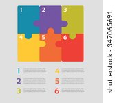 six vector jigsaw puzzle pieces ... | Shutterstock .eps vector #347065691