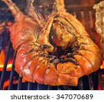 red spiny lobsters grill with... | Shutterstock . vector #347070689