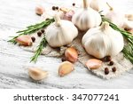 composition of garlic and... | Shutterstock . vector #347077241
